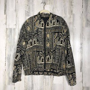 Vintage Womens Abstract Track Jacket Size L
